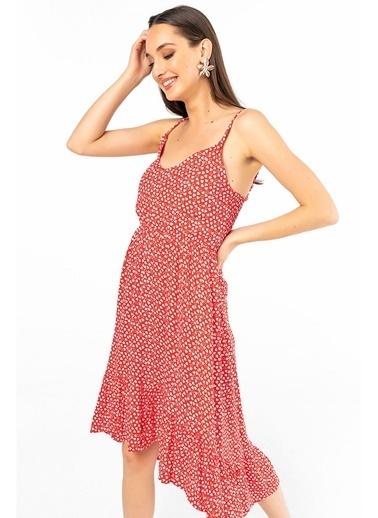Tiffany&Tomato Askılı Fırfırlı Desenli Elbise Kırmızı
